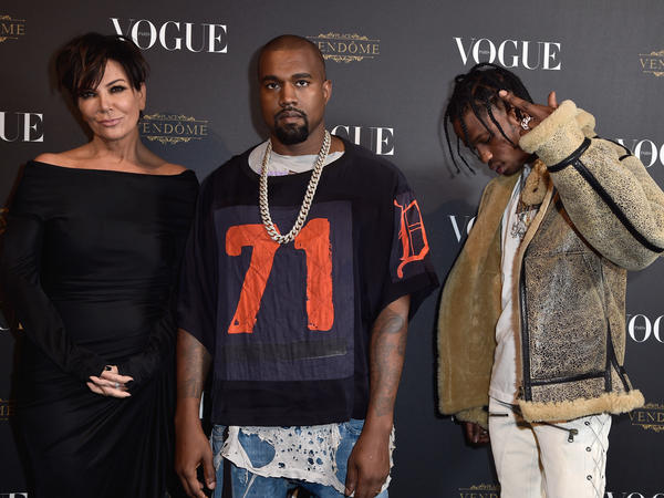 Kris Jenner, Kayne West and Travis Scott at the Vogue 95th Anniversary Party in October of 2015 in Paris.
