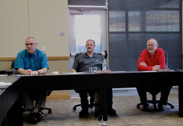 "<p>Port of Kalama Commissioners  (left to right) Alan Basso, Troy Stariha and Randy Sweet at a recent meeting. ""We've only had two people come and talk [about the methanol plant] since we started the process,"" Sweet said.</p>"