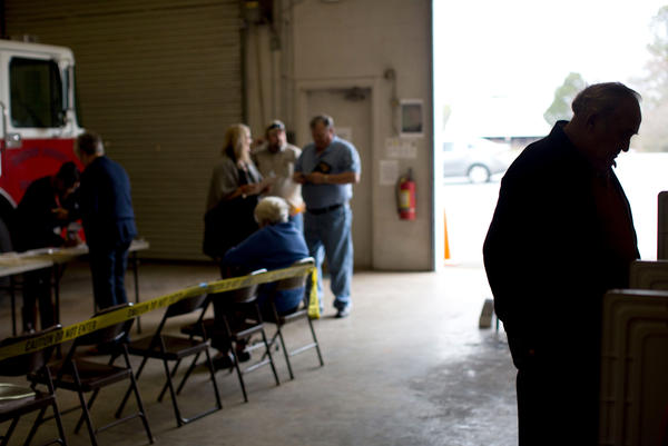 A Georgia voter casts his ballot at a fire station in Adairsville, Ga.