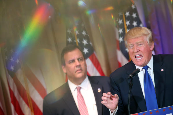 Donald Trump is joined by Gov. Chris Christie on Super Tuesday primary election night in Palm Beach, Fla.