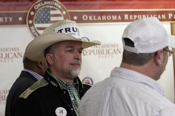 A crowd of mostly Trump supporters gathers at the Oklahoma GOP wacth party in Oklahoma City.