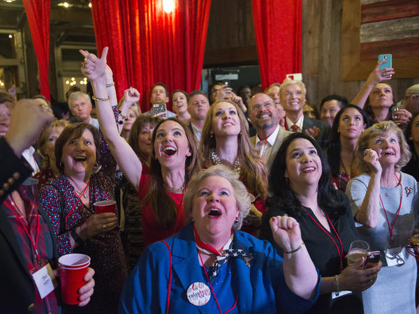 Attendees celebrate as election results come in for Sen. Ted Cruz.
