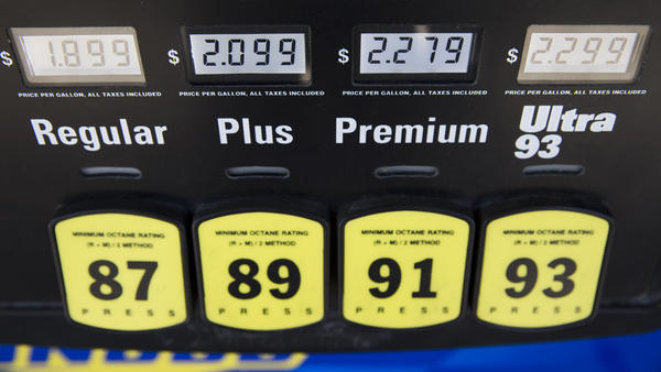 Gasoline prices are displayed at a filling station in Philadelphia.