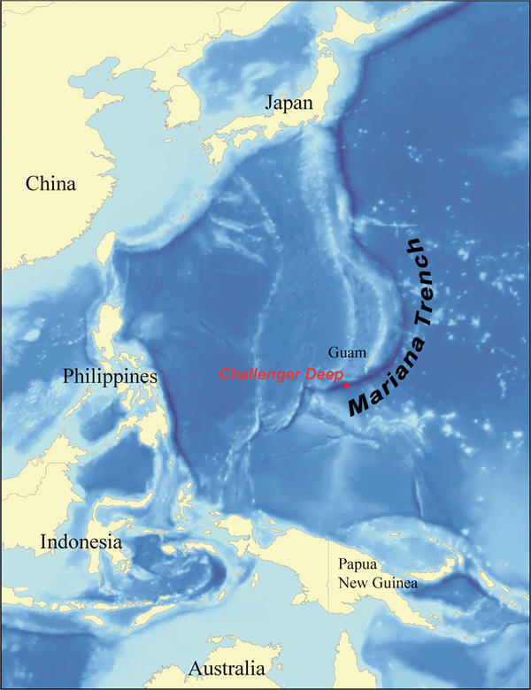 A map showing the location of Challenger Deep and the Mariana Trench.