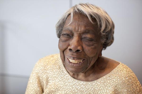 Centenarian Virginia McLaurin is pictured at NPR in Washington D.C. (Brandon Chew/NPR)