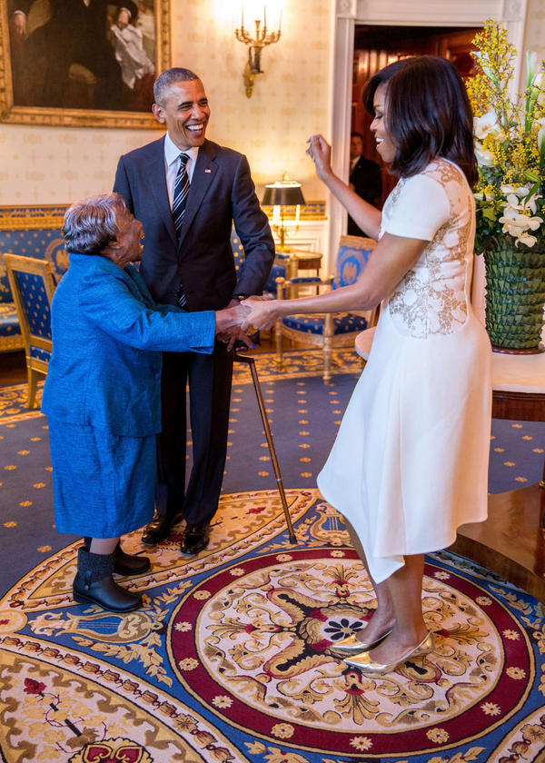 President Barack Obama watches First Lady Michelle Obama dance with 106-year-old Virginia McLaurin in the Blue Room of the White House prior to a reception celebrating African American History Month, Feb. 18, 2016. (Official White House Photo by Pete Souza)