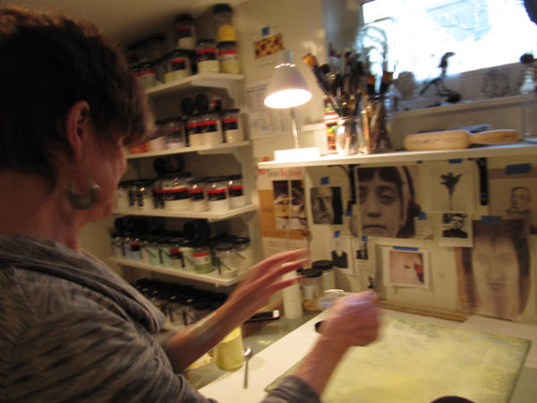 "<p>Catharine Newell in her home studio. She says her transition into fused glass has been nothing short of ""transformative"", and she credits Bullseye for making it possible.</p>"