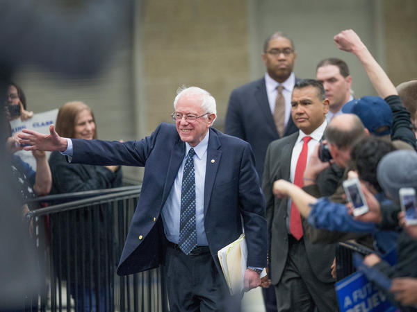 Sen. Bernie Sanders arrives for a rally at Macomb Community College on Saturday in Warren, Mich.