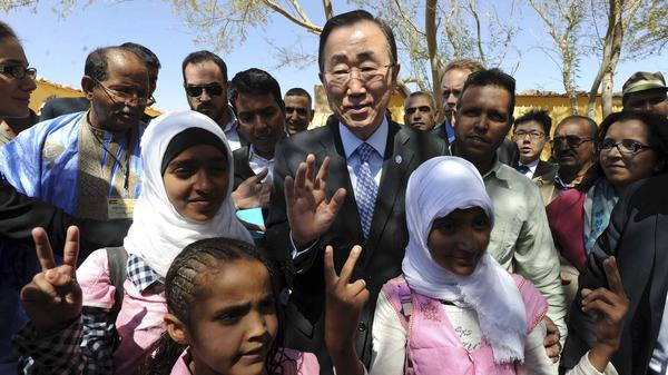 United Nations Secretary-General Ban Ki-moon visits the Smara refugees camp in Algeria on Saturday. His term will expire in December.