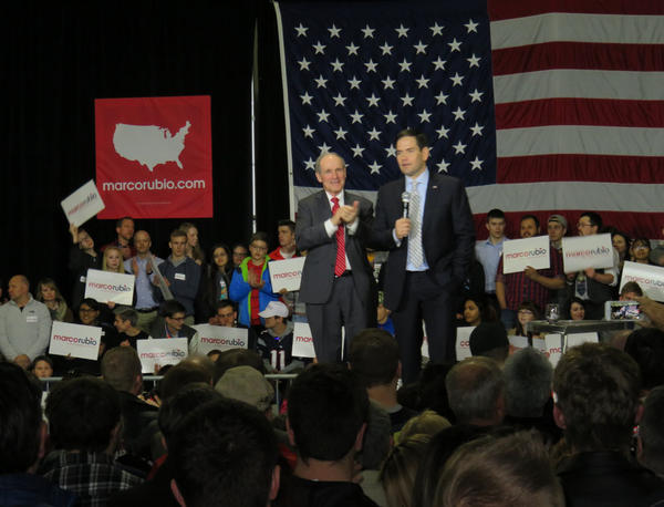 Florida Senator Marco Rubio addressed supporters and undecided voters at a well-attended rally in a hangar at the Boise Airport. Idaho U.S. Senator Jim Risch, at left, introduced Rubio.