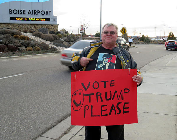Trump supporter Donald Sawyer shows his colors on the Sunday before Idaho Republicans vote in their presidential primary.