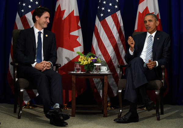 President Barack Obama and Canada's Prime Minister Justin Trudeau share the stage during their bilateral meeting at the Asia-Pacific Economic Cooperation summit in Manila, Philippines last November. Trudeau is set to visit the White House on Thursday.