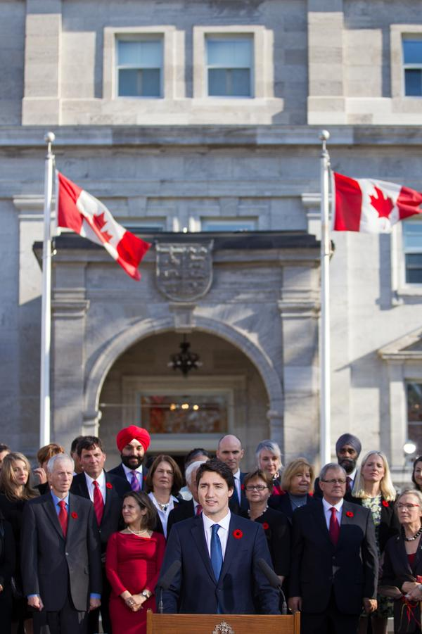 Justin Trudeau — shown here outside Rideau Hall, the official residence of Canada's governor general, after being sworn in as Canada's prime minister on Nov. 4 — has opted to live in a house on the Rideau Hall grounds.