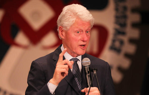 Former President Bill Clinton speaks in support of the candidacy of Hillary Clinton, his wife, at a rally in Bridgeton.
