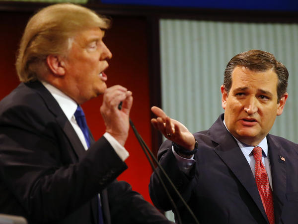 Republican presidential candidates Donald Trump and Sen. Ted Cruz, R-Texas, argue a point during a Republican presidential primary debate at Fox Theatre in Detroit earlier this month.