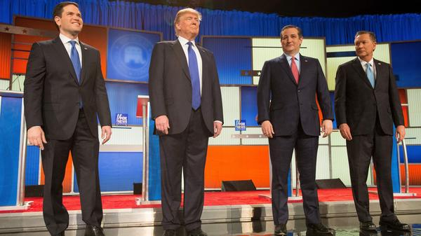 Presidential candidates (from left) Marco Rubio, Donald Trump, Ted Cruz and John Kasich at last week's Republican presidential debate.