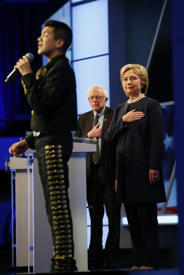 11-year-old Sebastien De La Cruz sings the national anthem to open Wednesday's Democratic presidential debate, sponsored by Univision and <em>The Washington Post.</em>