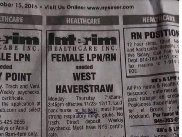 "Interim Healthcare Ad in New York specifies ""no Haitians."""