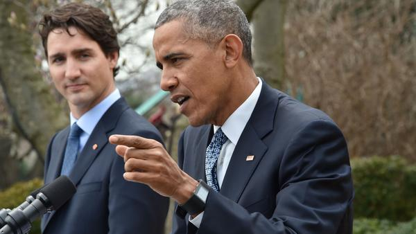President Obama spoke Thursday in the White House Rose Garden with Canada's Prime Minister Justin Trudeau.