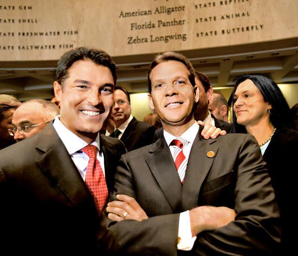 House Speaker Steve Crisafulli, R-Merritt Island, and Senate President Andy Gardiner, R-Orlando, gather on the final day of the 2015 Legislative session.