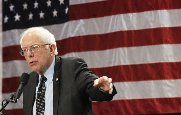 Democratic presidential hopeful Bernie Sanders tells supporters at Affton High School that he's hoping Missouri gives him a surprise victory in Tuesday's primary.