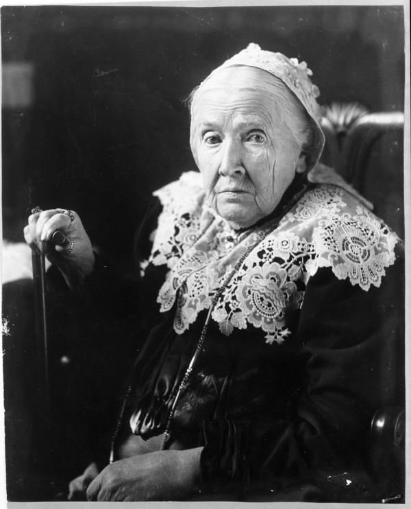 "Julia Ward Howe, seen here in 1908, the year she became the first woman elected to the American Academy of Arts and Letters. Her husband's death in 1876 had freed her to travel, give speeches, focus on the suffragist movement, and eat as she pleased, for the most part. ""Life is like a cup of tea — the sugar is all at the bottom,"" she said in her later years."