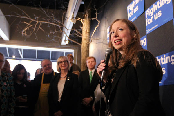 Chelsea Clinton stumps for mother Democratic Presidential candidate Hillary Clinton at a coffee shop in Clayton.