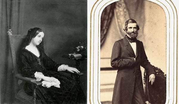 Left: Julia Ward Howe, pictured during her honeymoon in England. Right: Her husband, Dr. Samuel Gridley Howe. He would soon prove controlling of every aspect of her life, including what she ate.