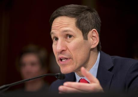 In this Thursday, Feb. 11, 2016, file photo, Centers for Disease Control and Prevention Director Thomas Frieden testifies on Capitol Hill in Washington, before a Senate Appropriations subcommittee hearing.