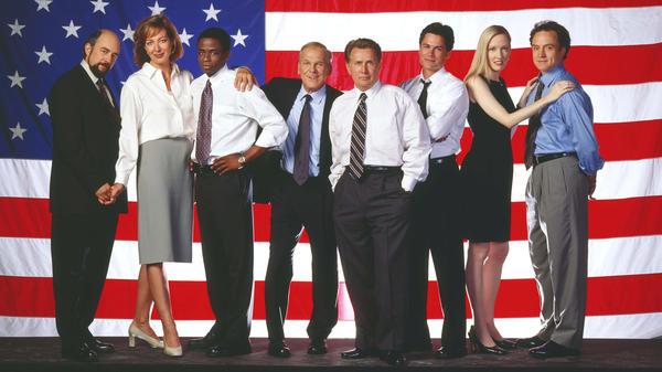 Cast members of the NBC drama <em>The West Wing</em>.