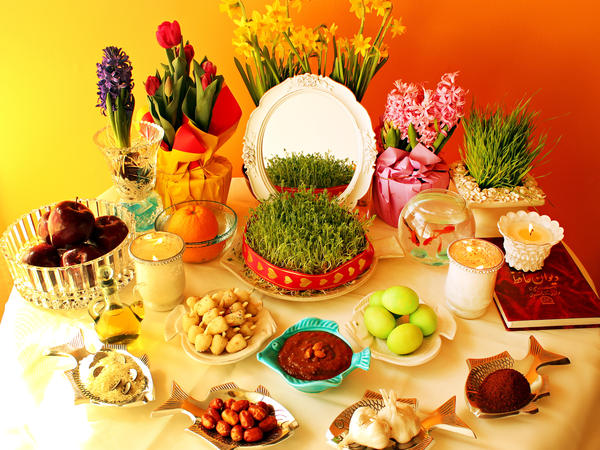 """In every home, the <em>haftseen</em> table is decorated with <a href=""""http://zanmagazine.com/pdf/Zan08_PartyBravo.pdf"""">seven items</a> – since seven is considered a lucky number. Each item begins with the letter <em>sin</em> (s) in Persian, and each item is a symbol of spring and renewal."""