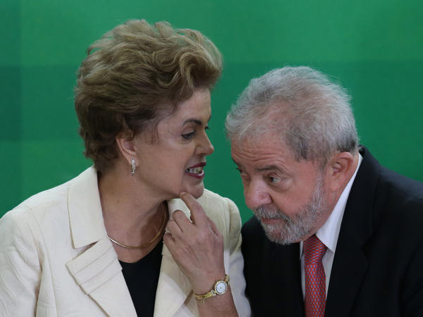 Both President Dilma Rousseff and former President Luiz Inacio Lula da Silva, shown here during his swearing-in ceremony as the chief of staff March 17, have been caught up in the wiretap firestorm.