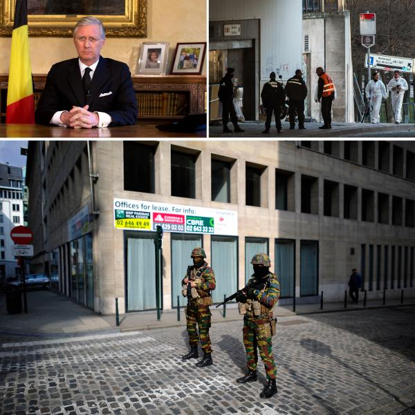 (Above, left) Belgium's King Philippe delivers a speech. (Right) Forensic police enter the Maelbeek metro station in Brussels. (Bottom) Soldiers patrol the scene at the metro station.
