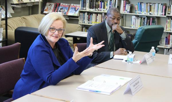 U.S. Sen. Claire McCaskill, D-Mo., speaks at a roundtable Monday at Metro High School in St. Louis. She was joined by St. Louis Public Schools Superintendent Kelvin Adams.