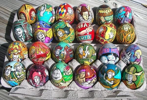 Contemporary artists continue to create new forms of egg art. <em>New Yorker</em> cartoonist Roz Chast learned <em>pysanky</em> technique to make egg art that reflects modern anxieties.