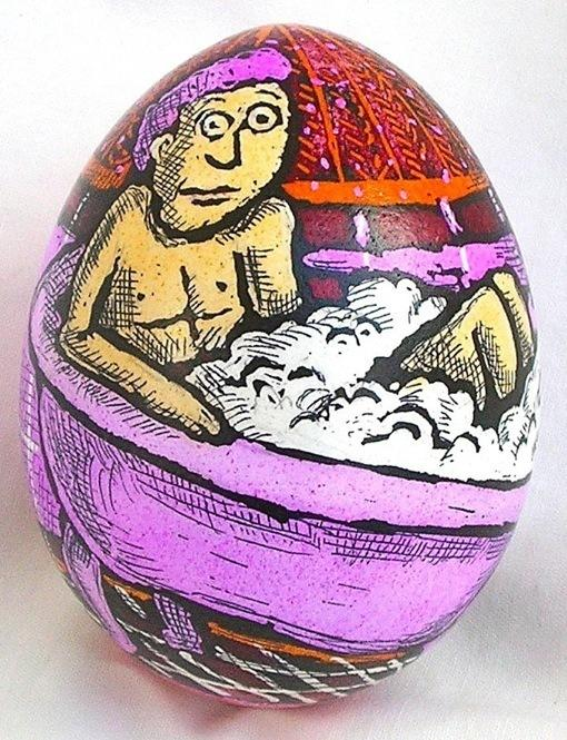 "Artist Roz Chast says that egg art is a perilous process. ""There's something about their fragile nature that in an insane way appeals to me,"" Chast says."