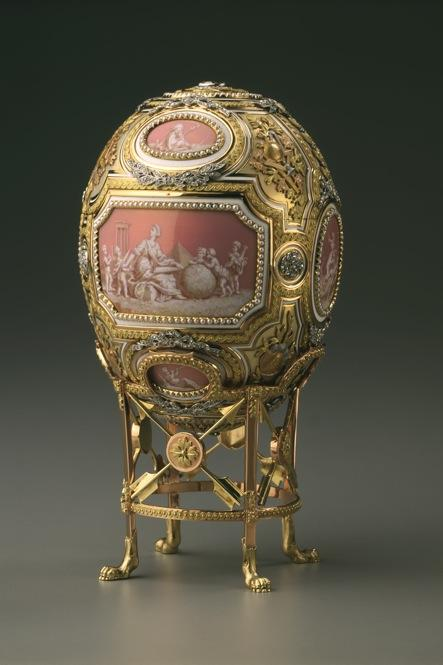 The Catherine the Great Easter egg was commissioned by Czar Nicholas II for his mother. The Faberge workshop crafted it out of diamonds, pearls, silver, gold, platinum and a shimmering opalescent enamel. It originally held a tiny statue of Catherine the Great.