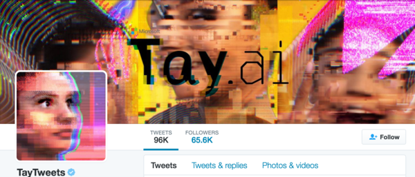 The Twitter profile for Tay.ai, Microsoft's short-lived chatbot.