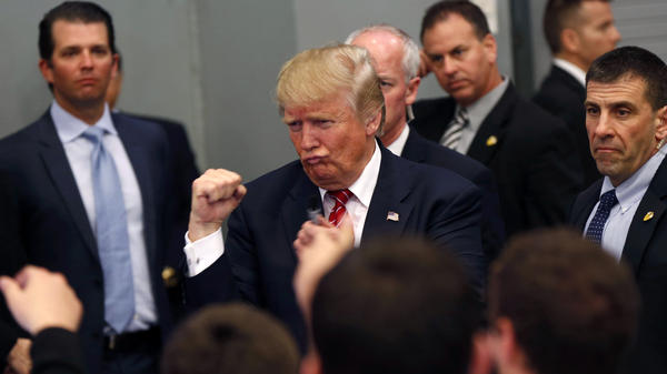 Republican presidential candidate Donald Trump makes a boxing gesture while greeting the crowd after speaking at a campaign rally in New Orleans earlier this month. Trump won Louisiana, but Ted Cruz is likely to end up with more delegates from the state.