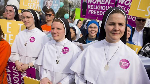 Supporters of religious organizations that want to ban contraceptives from their health insurance policies on religious grounds rallied outside the Supreme Court last week.