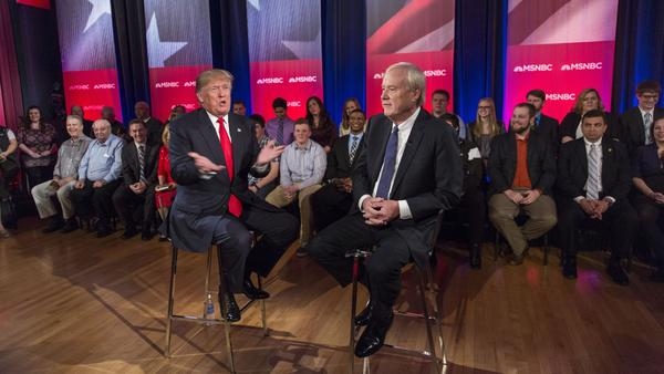 Presidential candidate Donald Trump participates in a town hall meeting for MSNBC with Chris Matthews.