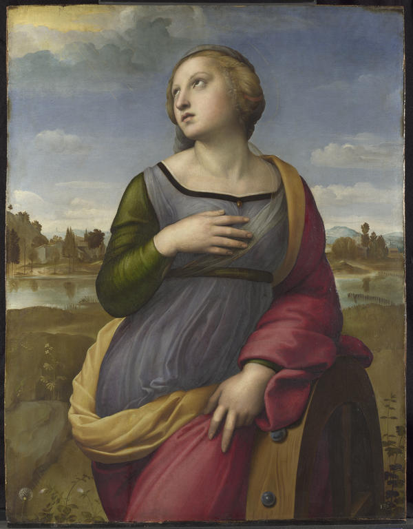 "Raphael's <em>Saint Catherine of Alexandria</em>, circa 1507. NGA curator David Brown says, ""His depiction adopts Catherine's traditional attribute — the wheel that broke during her martyrdom — but instead of stressing the horrific aspect of the event, Raphael has her leaning on the broken wheel in a relaxed classical pose."""