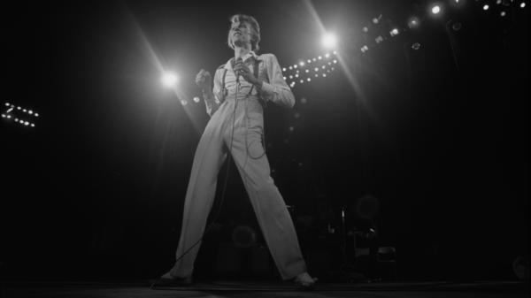 David Bowie in September of 1974 onstage in Los Angeles.