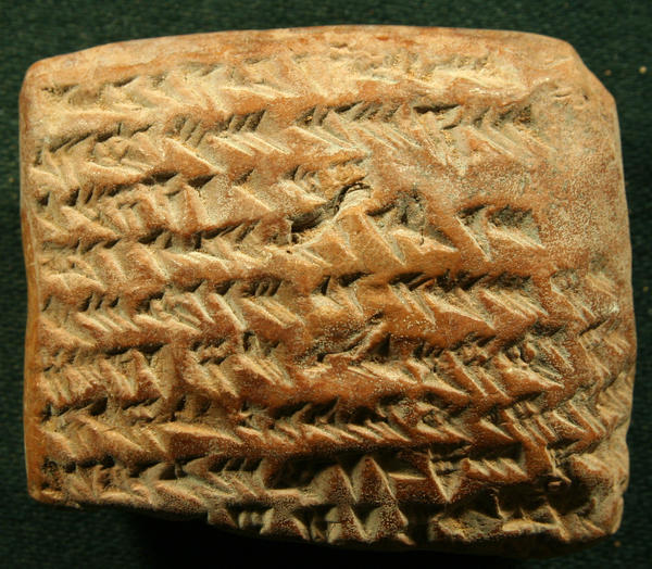 It's not a cracker; it's a cuneiform — an ancient clay tablet with calculations involving a trapezoid that helped the ancients track planets.