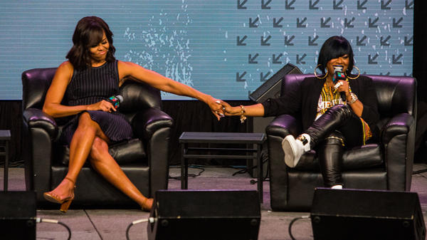First lady Michelle Obama on stage with Missy Elliott during her SXSW keynote event on Wednesday, March 16.