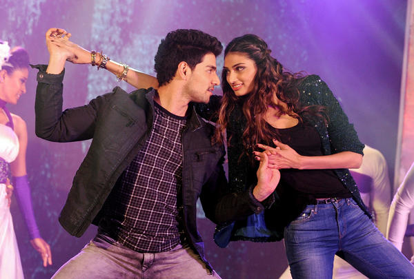 "Bollywood actors Sooraj Pancholi (left) and Athiya Shetty perform during a promotional event in Mumbai for the film <em><a href=""https://www.youtube.com/watch?v=6k3wapAOu-M"">Hero</a></em>."