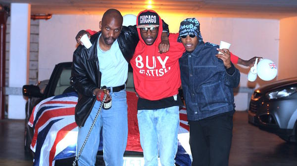Dean Blunt, left, with the other two members of Babyfather, Escrow and Gassman, who have just released <em>BBF Hosted by DJ Escrow.</em>