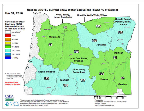 This map shows the current snow water equivalent as a percent of normal in Oregon.
