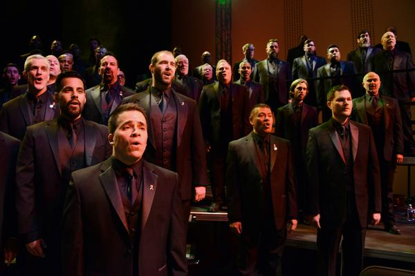 Members of the Turtle Creek Chorale, a Dallas men's choir, perform <em>Tyler's Suite</em> at the Dallas City Performance Hall on March 31, 2016.
