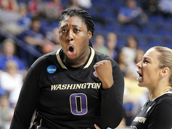 Washington's Chantel Osahor celebrates a basket during the team's win over Stanford on March 27.